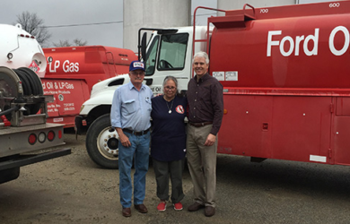 Pictured from left to right: Bill McFarland and Michele McFarland, the former owners of Ford Oil Company, and Don Smith, MFA Oil director of mergers and acquisitions.