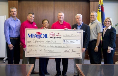 Pictured (L to R): Jon Ihler, MFA Oil vice president of sales and marketing; Tim Farrell, Operation Homefront chief operating officer; Jacqueline Watts, Operation Homefront director of programs, Kansas/Missouri field office; Mark Fenner, MFA Oil president and CEO; John Laws, Operation Homefront advisory board member; Robert Condron, MFA Oil chief financial officer; and Janice Serpico, MFA Oil chief human resources officer.