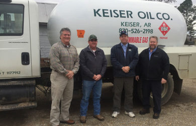 Pictured from left to right: Jeff Goodwin, MFA Oil district manager; Nathan Dunman, former Keiser Oil and Gas Company owner; Chip Bennet, MFA Oil acquisition specialist; Joe Case, MFA Oil acquisition specialist