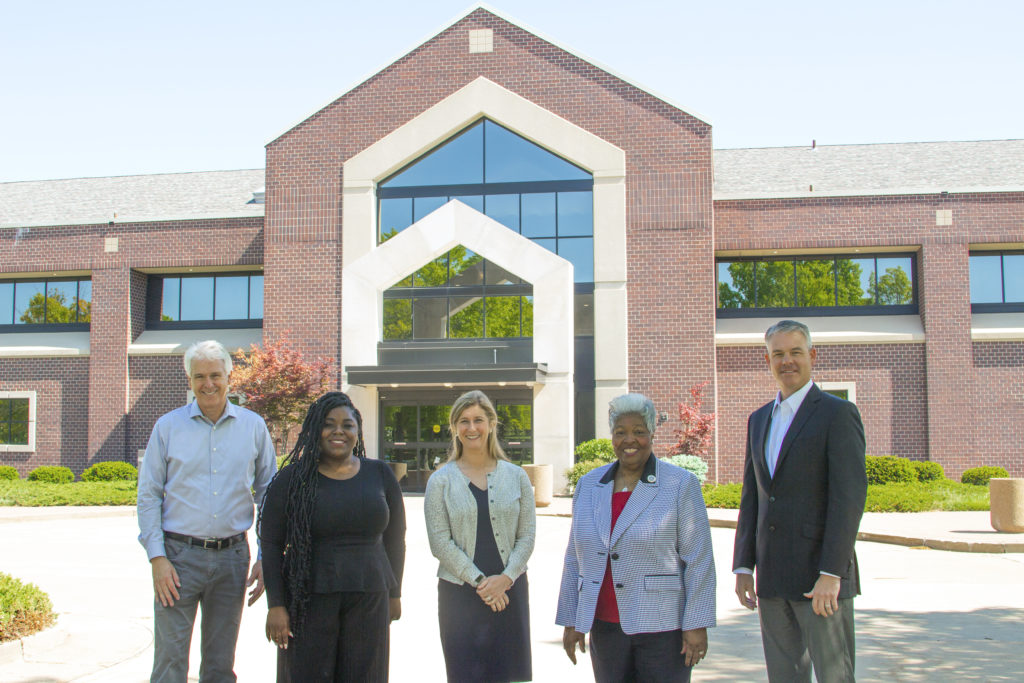 From left to right - Don Smith, MFA Oil director of mergers and acquisitions; Rev. Stephanie Allen, of the St. Paul AME Church in Columbia, Mo.; Emily Fisher, MFA Oil mergers and acquisitions analyst; Rev. Darlene Singer Smith, presiding elder of the AME Church's St. Louis and Columbia District; and Jon Ihler, MFA Oil president and CEO.