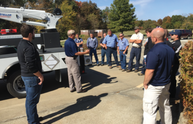 MFA Oil employees participate in a crane truck training session at the company's headquarters in Columbia, Mo.
