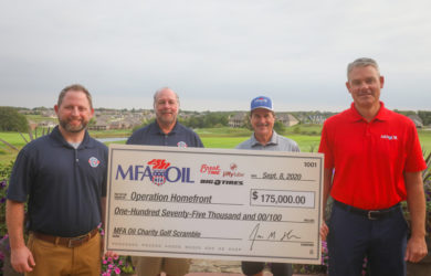 Pictured L to R: AJ Kahn, Operation Homefront Area Manager - Region 2; Don North, MFA Oil Director of Product Development and Operation Homefront Advisory Board Member; Jeff Raetz, MFA Oil CFO; and Jon Ihler, MFA Oil President and CEO.